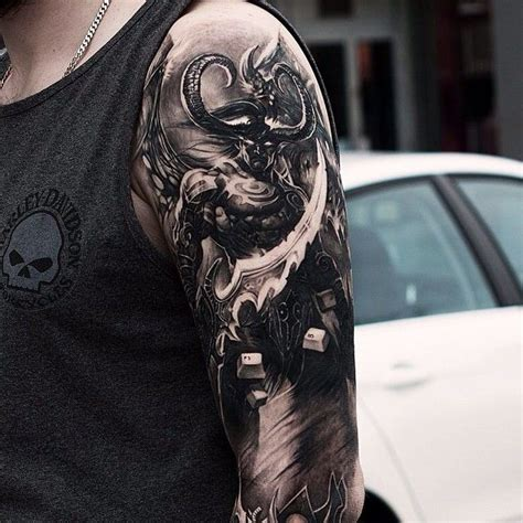 badass half sleeve tattoo designs badass world of warcraft half sleeve by our friend oscar