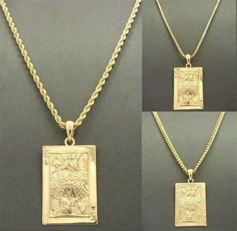 mens gold king of spade card pendant charm 24 quot cuban box