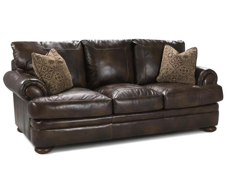 Klaussner Montezuma Ld43800 Sts Leather Studio Sofa With Bright Leather Sofa