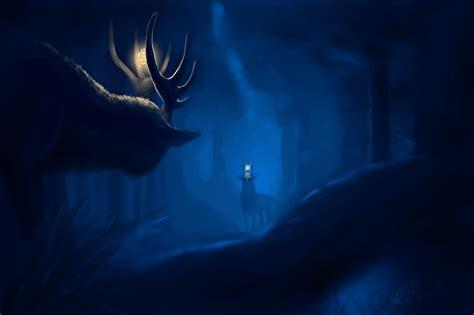 groupon paint nite deer фотографии олени рога фэнтези леса ночь животные рисованные