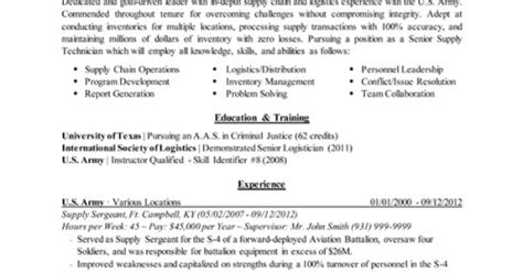 transitioning to civilian resumes to civilian conversion logistics sle