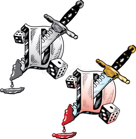 stile lettere tatuaggi lettera d di stile tatuaggio illustrazione vettoriale