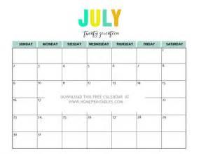 Printable July 2017 Calendar Free Printable 2017 Calendars Bright And Beautiful