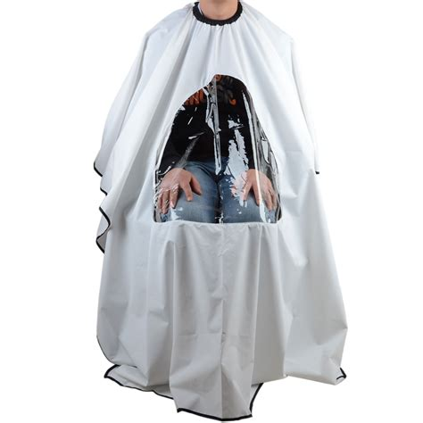 pro salon barber hair cutting gown cape with viewing