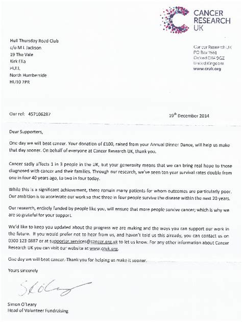 Cancer Research Motivation Letter Thanks From Cancer Research Uk 187 Hull Thursday Road Club