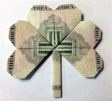 Dollar Bill Origami How To - 5 bill shamrock clover money origami dollar bill