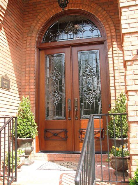 Mahogany Doors With Glass Handmade Mahogany Door With Custom Leaded Glass Wrought Iron By The Looking Glass Custommade