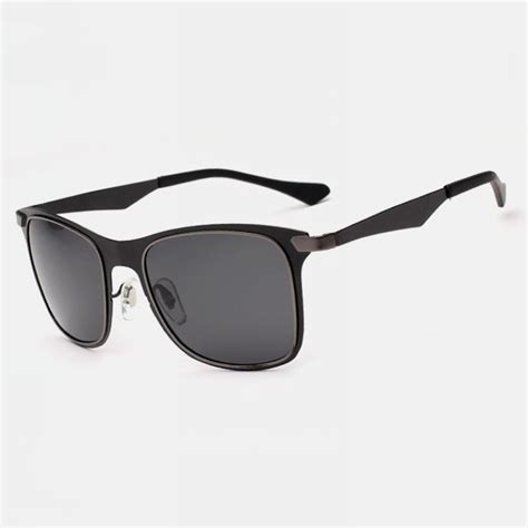 Retro Metal Square Glasses polarized retro metal square mens sunglasses black frame
