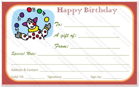 fun day birthday gift certificate template gift certificates
