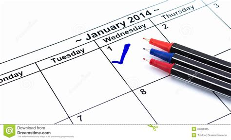 Check Calendar Blue Check On The Calendar At 1st January 2014 With