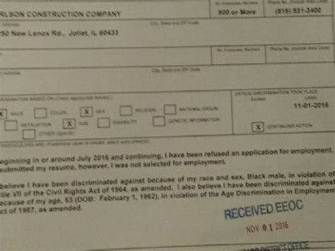 joliet housing authority discrimination complaint filed against joliet housing authority carlson construction