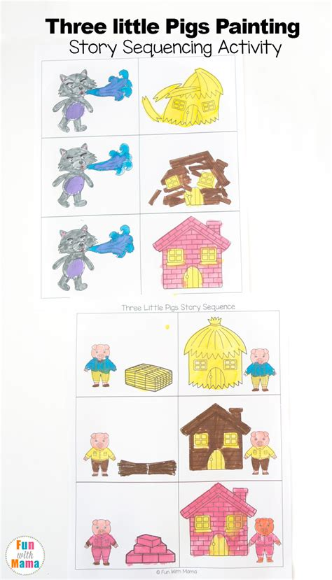 three story 3 little pigs craft sequencing coloring pages fun with mama