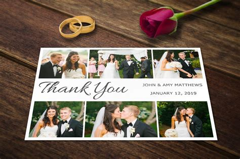 thank you card template with photo wedding thank you card templates psd wedding templates