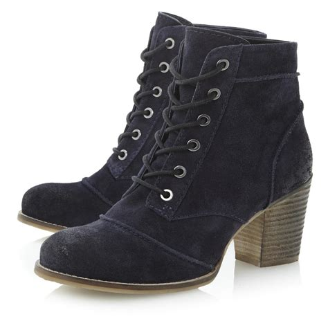 bertie paxson womens navy blue suede stacked heel