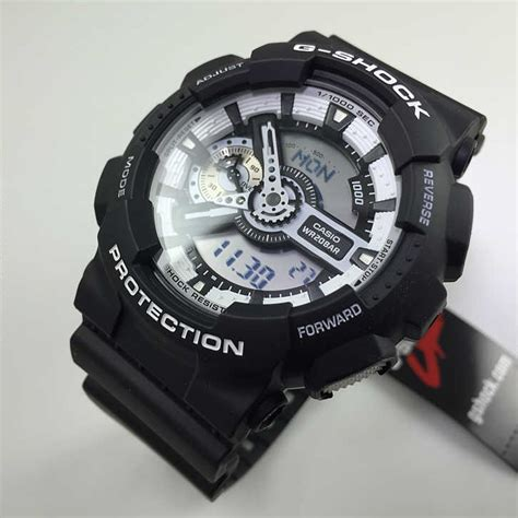 casio g shock digital analog black sports ga110bw 1a