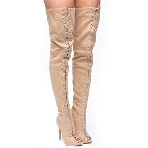 ziginy piarry thigh high boot in cinnamon suede flyjane