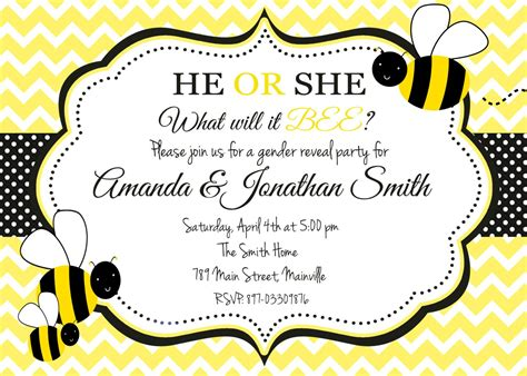 Bumble Bee Honey Bee Bumblebee Gender Reveal Party Bumble Bee Invitation Template Free