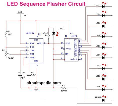 led light chaser circuit diagram led chaser led flasher 10 led sequencer chaser flasher