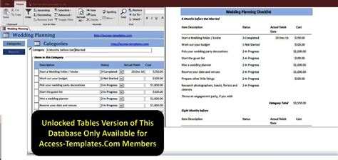 Access Database Wedding Planning Checklist With Timeline Templates For Microsoft Access 2016 Microsoft Access Erp Template