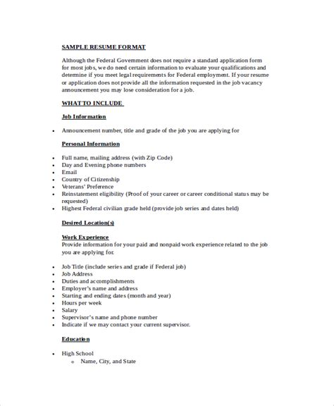 Simple Resume Format For by 9 Simple Resume Formats Sle Templates
