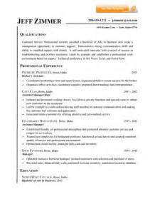 Resume Help Qualifications 12 Customer Service Representative Resume Sle Writing