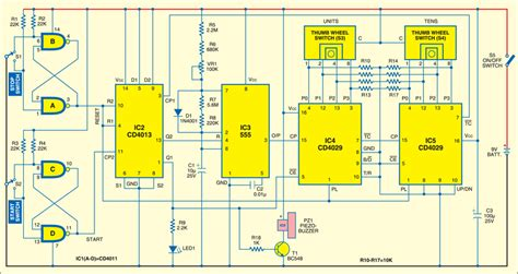 electronics projects integrated circuits electronic alarm reminder circuit by two counter ics cd4029