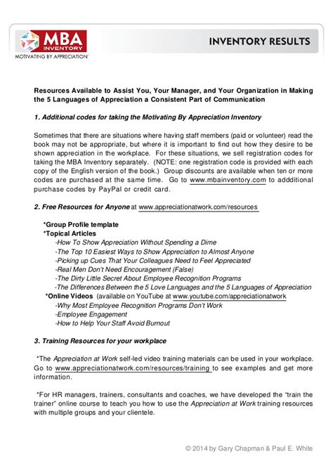 Mba Inventory Pdf mba managing by appreciation inventory results 2014