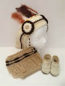 Crochet baby native american set with headdress diaper cover and