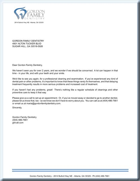 dental recall letter template docoments ojazlink