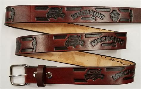 Handmade Belts Usa - mechanic embossed leather belt leather belts usa