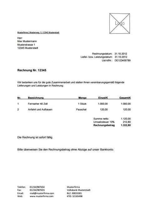 Musterrechnung Handwerk rechnungsvorlage musterrechnung kostenlos lexoffice