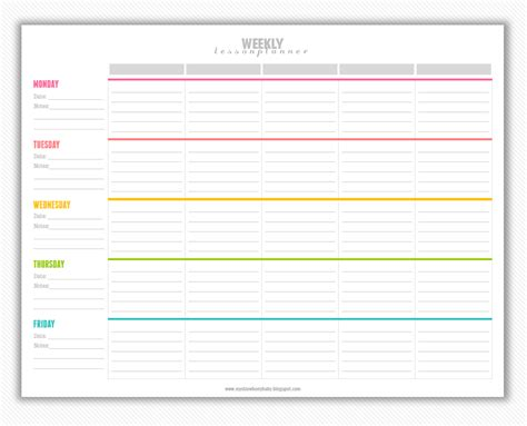 6 week lesson plan template printable weekly lesson plan template printable template