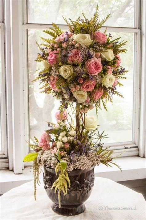 Topiary Flower 2 fresh floral topiary tree made out of garden roses tear roses rice flower thistle grevellia