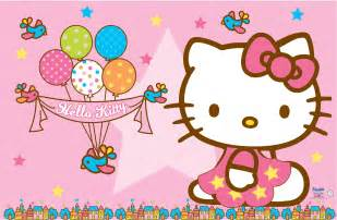 Hello kitty wallpaper pink background and balloons for birthday