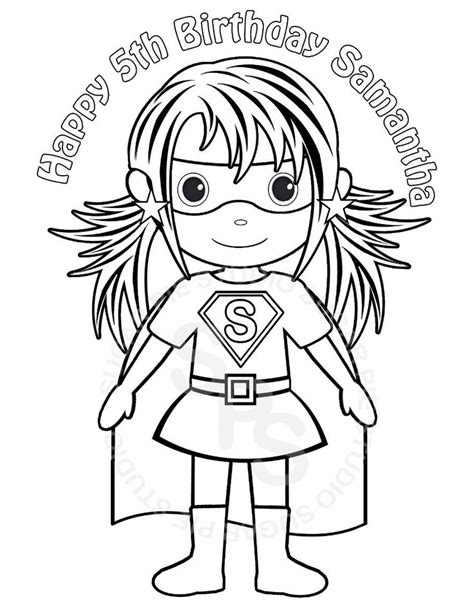 superhero coloring pages for toddlers personalized printable superhero girl birthday party favor
