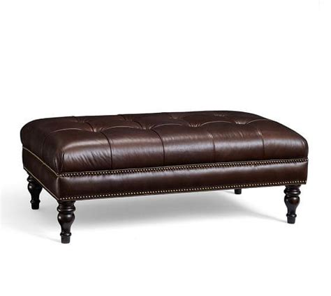 martin tufted leather ottoman in brown