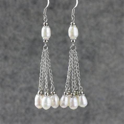Handmade Earrings Designs - linear dangling pearl earrings bridesmaids gifts free us
