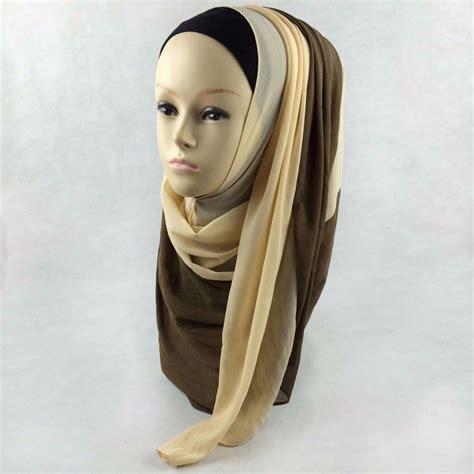 Pashmina Two Tone No 3 custom color muslim islamic scarf one hijiab shawl two tone thick chiffon