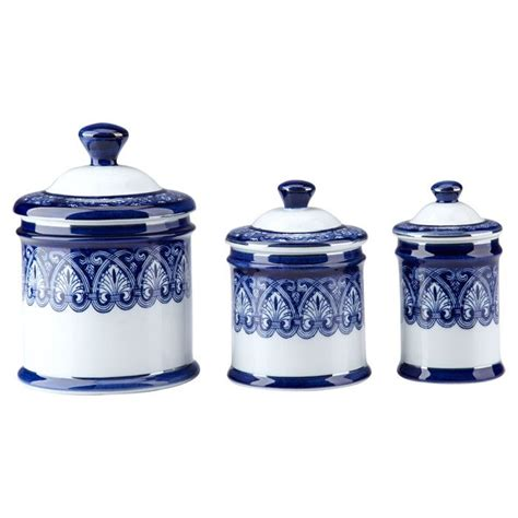 blue and white kitchen canisters porcelain canister set home pinterest