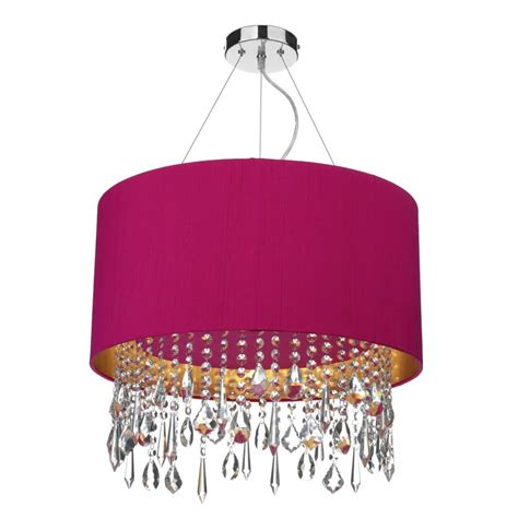 Pink Ceiling Lights Modern Ceiling Pendant Light Shade Drum Shaped With Drops