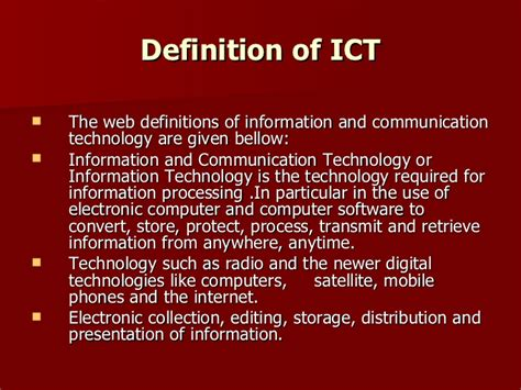 ict information communication technology application of information communication technology ict