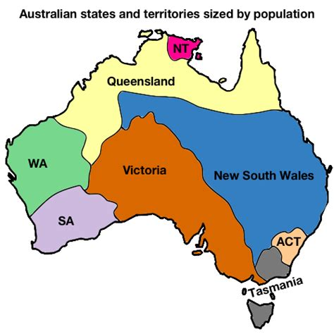 map australian states australian states and territories sized by maps on
