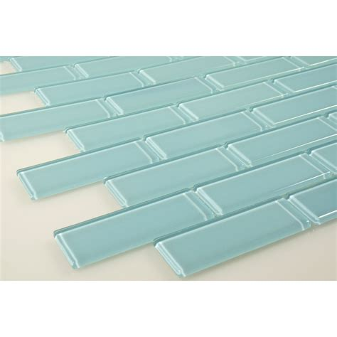 Penny Kitchen Backsplash 1 X 3 Blue Glass Uniform Brick Tile Glossy Blg1609