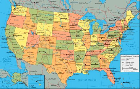 america map with states and cities america map
