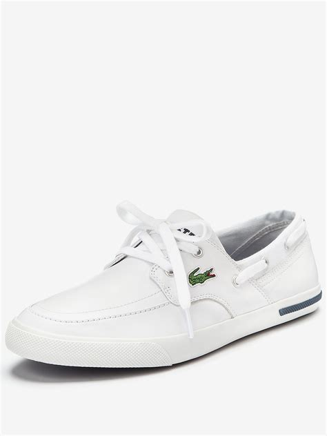 mens lacoste sneakers lacoste mens newton boat shoes in white for lyst