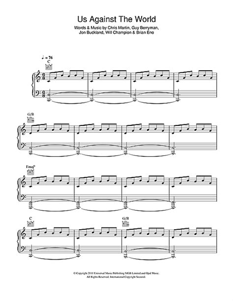coldplay us against the world chords coldplay us against the world sheet music