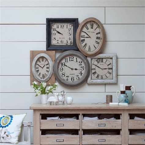 Living Room Clocks | rustic living room clock display country living room