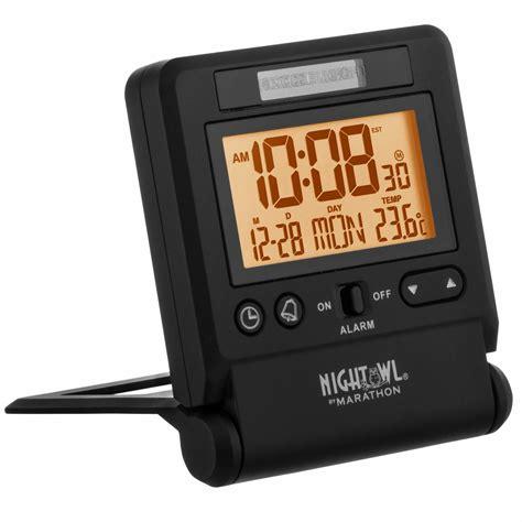 marathon cl030036bk atomic travel alarm clock with auto light feature i ebay