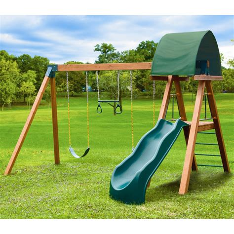kid swing sets kid gymz deluxe wood swing set at hayneedle
