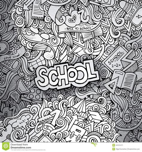 background doodle hand drawn school sketch background stock vector image